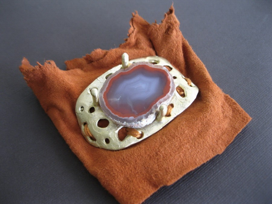 Raw Sliced Agate Bronze Cuff Bracelet