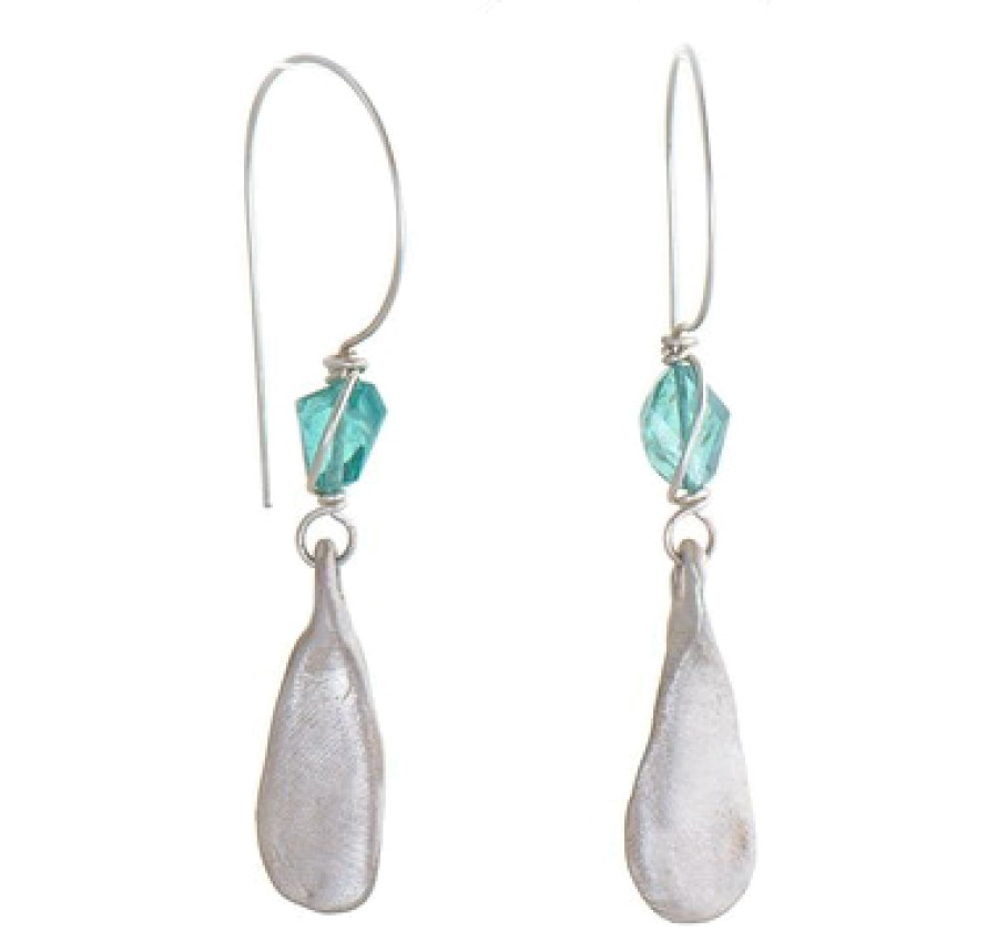 Apatite and Sterling Thumbprint Earrings