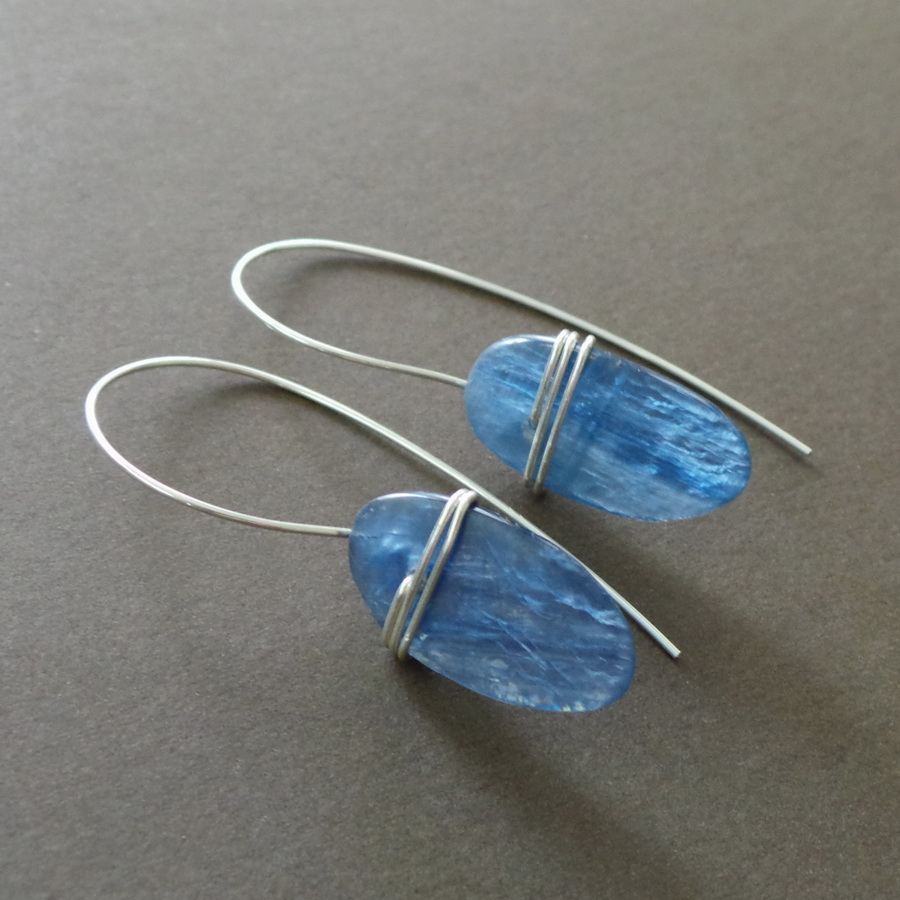 Blue Kyanite Slab Sterling Wrapped Earrings