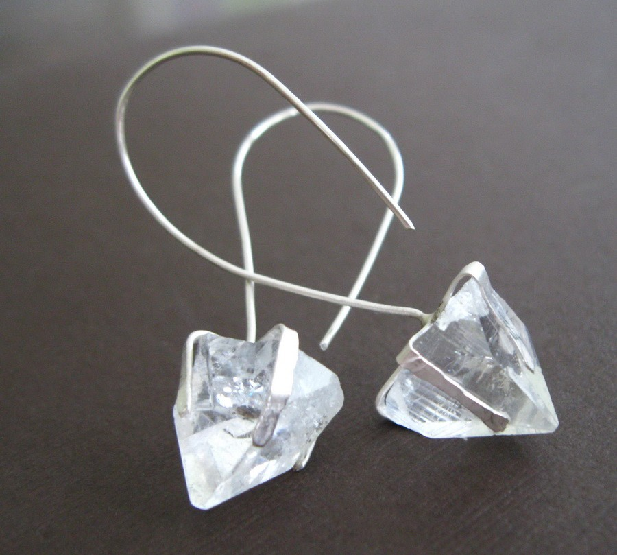 Crystal Pyramid Sterling Earrings