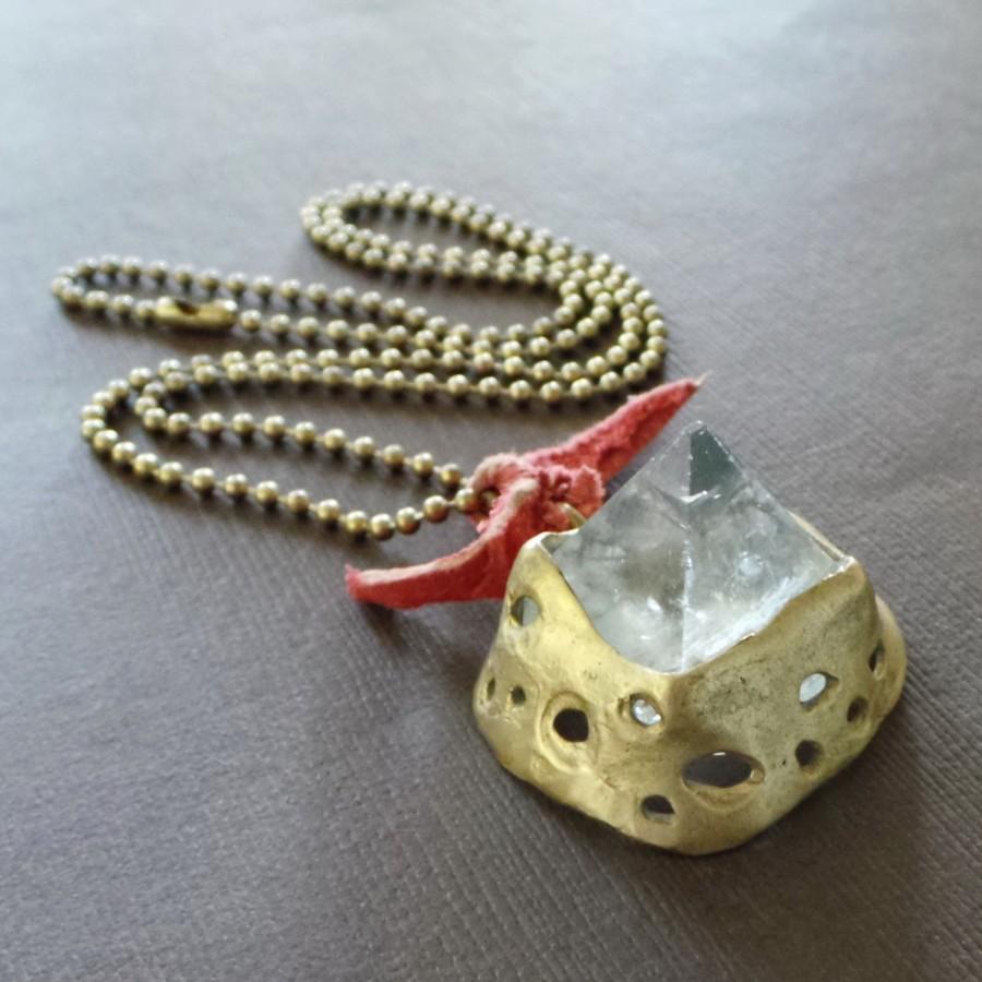 Crystal Quartz Pyramid Bronze Necklace