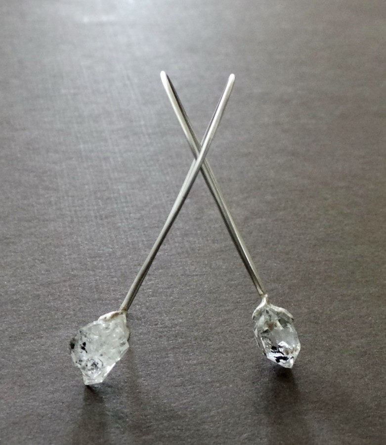 Herkimer Diamond Raw Nugget Sterling Earrings