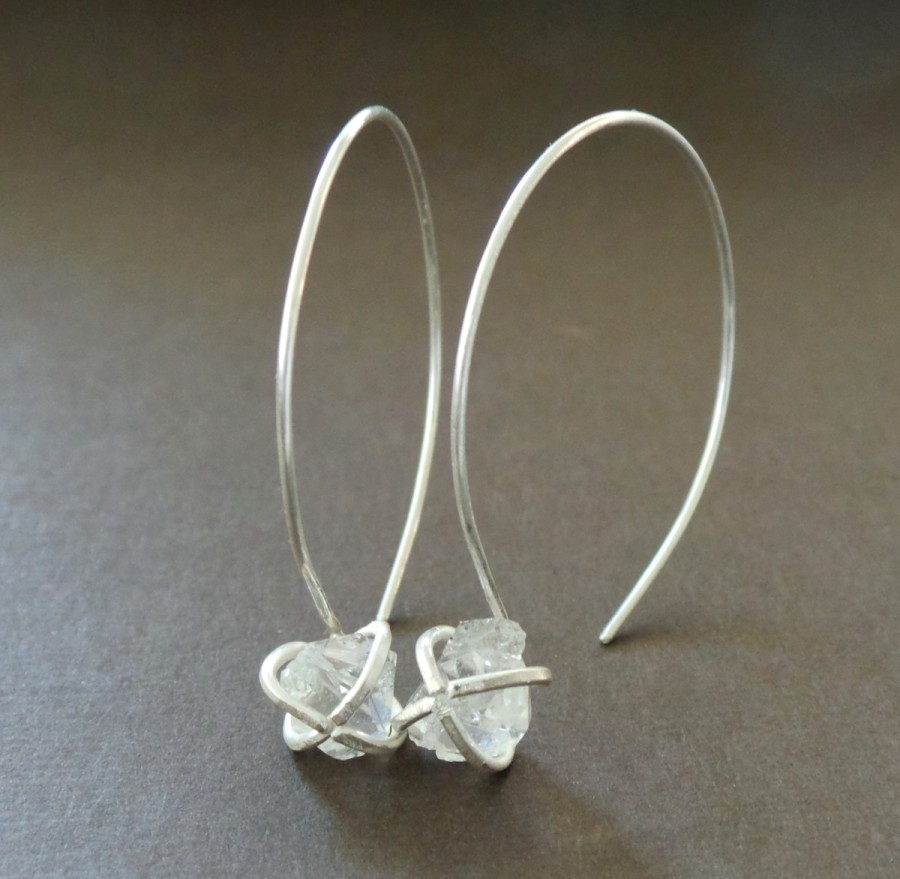 Herkimer Diamond Raw Nugget Sterling Hoop Earrings