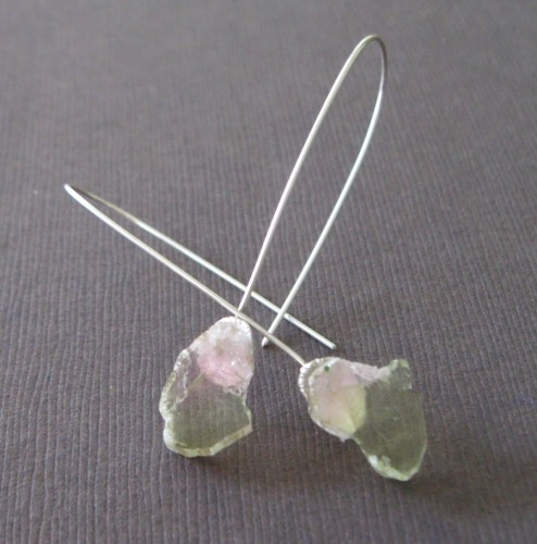 Light Pink and Green Watermelon Tourmaline Sterling Earrings