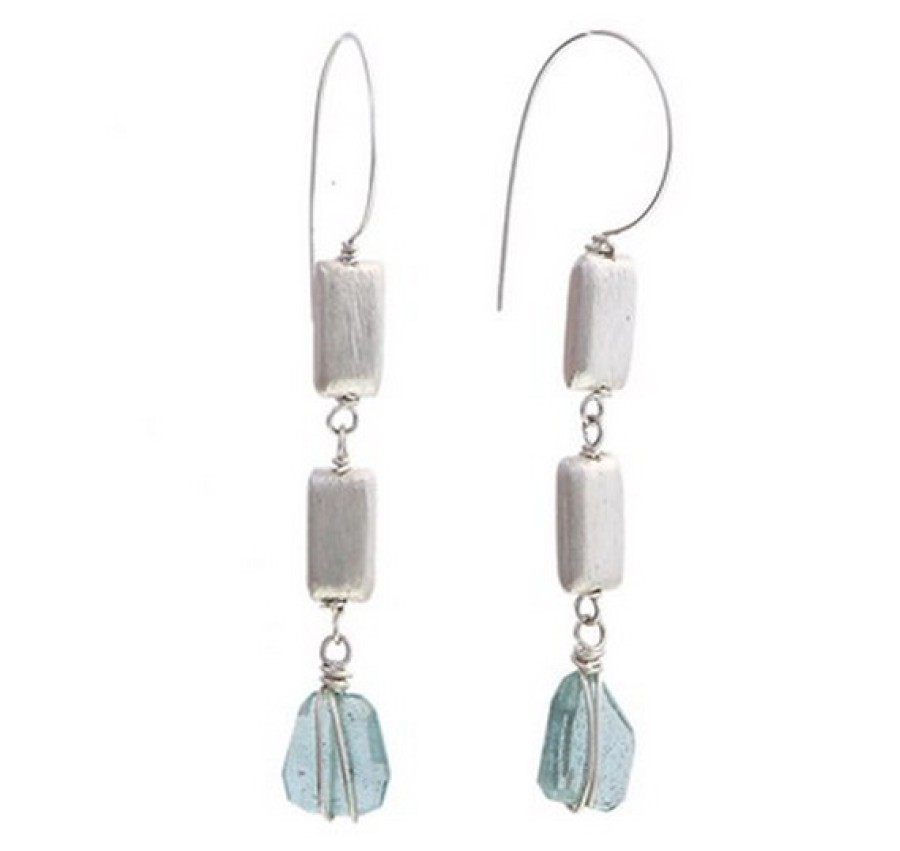 Moss Aquamarine Sterling Earrings