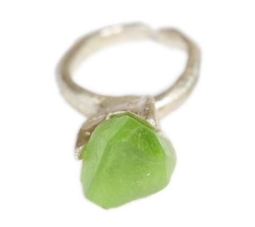 Raw Green Garnet Boulder Ring