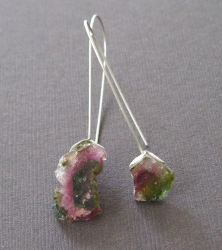 Raw Pink and Green Watermelon Tourmaline Sterling Earrings