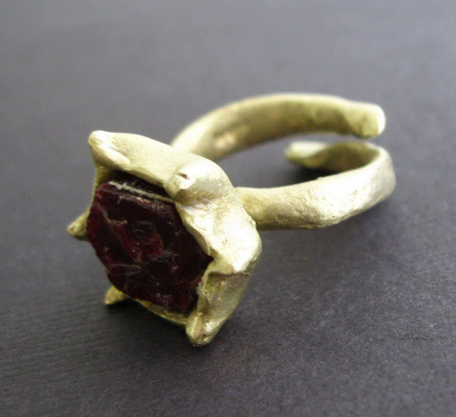 Raw Ruby Bronze Ring Byzantine Medieval