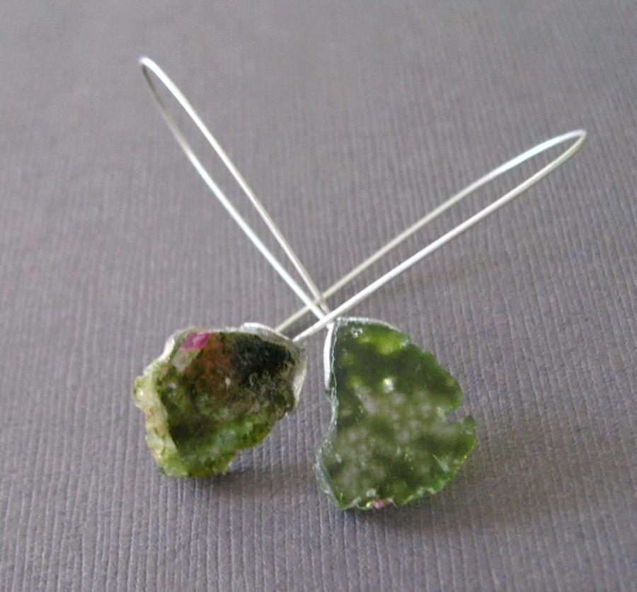 Raw Watermelon Tourmaline Sterling Earrings