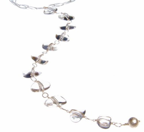 Smooth Rock Crystal Pebble Long Necklace
